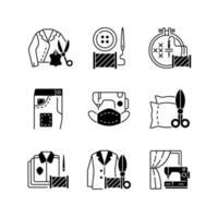 sömnad tjänster svart linjär ikoner set vektor