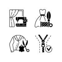 klädreparation service svart linjär ikoner set vektor