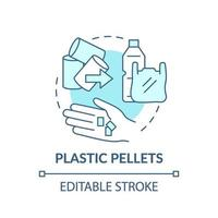 Kunststoff-Pellets-Konzeptikone. Idee dünne Linie Illustration vektor