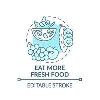 essen Sie mehr frisches Lebensmittelkonzeptikone vektor