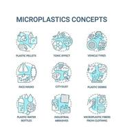 mikroplast koncept ikoner set vektor