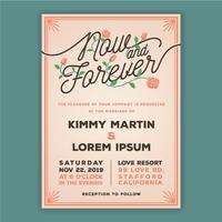 Nu och Forever Bröllopsinbjudningsmall. vektor