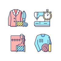 outfit reparation tjänster rgb färg ikoner set vektor