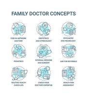 husläkare blå koncept ikoner set