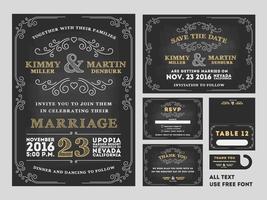Vintage Tafel-Hochzeits-Einladungsdesignsätze vektor