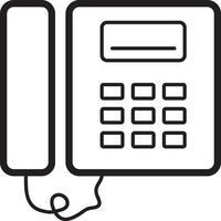 linje ikon för fast telefon vektor