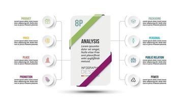 8p Analyse Geschäfts- oder Marketingdiagramm Infografik Vorlage.