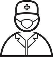 linje ikon för läkare vektor