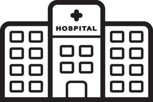 linje ikon för sjukhus vektor