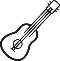 linje ikon för gitarr vektor
