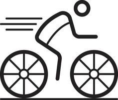 linje ikon för cykling vektor