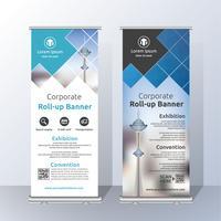 Vertikal rollen Sie oben Fahnen-Schablonen-Design für Ankündigung und Adverti vektor
