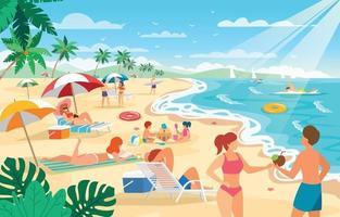 Menschen genießen den Sommer am Strand vektor