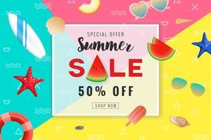 Sommarförsäljning reklam banner bakgrund. Seascape bakgrund vit vektor