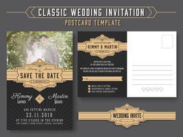 Klassischer Vintage Hochzeitseinladungskartendesign vektor
