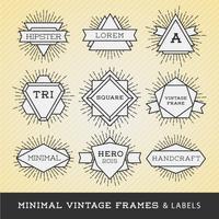 Sats med vintageramar och etiketter med solburst. Hipster bor
