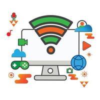 trådlös illustration. datorillustration. platt vektor ikon. kan användas för, ikon designelement, ui, webb, mobilapp.