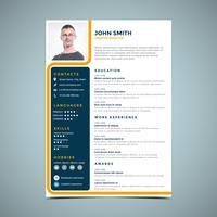Gelbe Linie Resume Design vektor