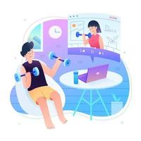 online tränare träning hemma koncept vektor