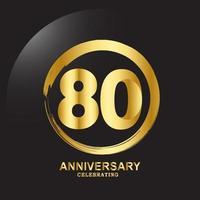 80 Jahre Jubiläum Vektor Vorlage Design Illustration