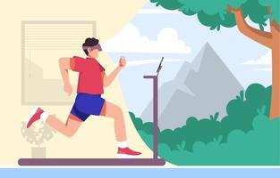 Fitnessstudio zu Hause mit Virtual-Reality-Brille vektor