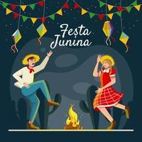 Paar tanzt mit Feuer und feiert Festa Junina vektor