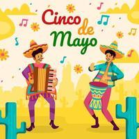 musiker spelar musik firar cinco de mayo festival vektor