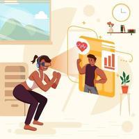 Mädchen, das virtuelles Fitnessstudio zu Hause Konzept tut vektor