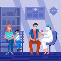junge Familie do covid-19 Impfkonzept vektor