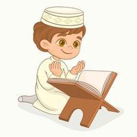muslimischer Junge, der betet. den Koran lesen vektor