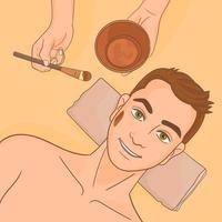 Kosmetikerin, die Maske auf Gesicht des Kunden im Spa-Salon aufträgt