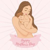 Mutter mit ihrem Baby in den Armen. schönen Muttertag