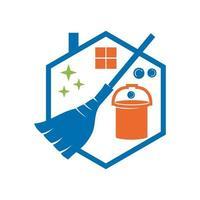 Reinigungsservice Bucket Sweep Business Design Vorlage vektor