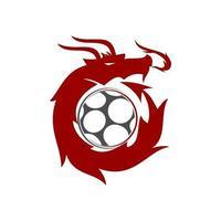 Drachenfußball Design Maskottchen Vorlage Vektor isoliert