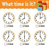 inlärningstid på klockan. vintertema. utbildningsaktivitetsark för barn och småbarn. spel för barn. enkel platt isolerad färg vektorillustration i söt tecknad stil. vektor