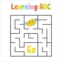 fyrkantig labyrint. spel för barn. kvadratlabyrint. utbildning kalkylblad. aktivitetssida. lära sig engelska alfabetet. tecknad stil. hitta rätt väg. färg vektorillustration. vektor