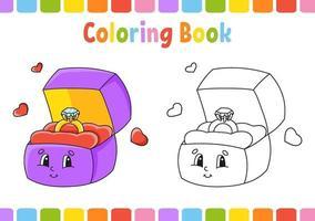 målarbok för barn. tecknad figur. vektor illustration. fantasysida för barn. alla hjärtans dag. svart kontur silhuett. isolerad på vit bakgrund.
