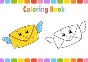 Malbuch für Kinder. Zeichentrickfigur. Vektorillustration. Fantasy-Seite für Kinder. Valentinstag. schwarze Kontur Silhouette. isoliert auf weißem Hintergrund. vektor