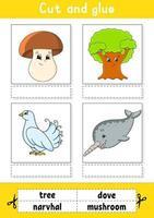 klipp och klistra. spel för barn. lära sig engelska ord. utbildning utveckla kalkylblad. sida för färgaktivitet. tecknad figur. vektor