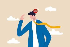 Überarbeitet, zu viele Arbeitsprobleme und nicht erledigte Aufgaben, betontes negatives mentales oder Angstkonzept, depressiver Geschäftsmann frustriert über die Arbeit mit unvollendeter Nummer auf dem Kopf. vektor