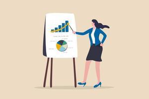 Finanzdatenanalysebericht, Statistik- oder Wirtschaftsforschungskonzept, Geschäftsfrau, die in der Sitzung Grafik und Grafik an Bord präsentiert. vektor