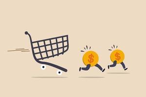 över utgifter, konsumtion eller betalning för dyra shoppingkostnader som orsakar skuld och finansiella problemkoncept, dollarmynt myntar iväg från aggressiv jaktkrediterings kundvagn eller vagn.
