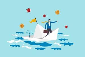 ledarskap för krishantering i coronavirus covid-19 pandemi orsakar ekonomisk lågkonjunktur, affärsman företagsledare lyckas överleva i sjunkande båt situation med virus patogen. vektor