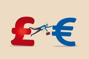 unvollendet, kein Deal oder harter Austritt, Verhandlung oder Vereinbarung scheitern an der Regierung des Vereinigten Königreichs Großbritannien, um das Konzept der Europäischen Union zu verlassen. Der Geschäftsmann bemüht sich, das britische Pfund und das Euro-Geldzeichen festzuhalten. vektor