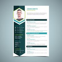 Heksagonal Blue Resume Design vektor