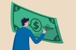 finansiell rådgivare eller planerare, konsultera och diskutera skatteintäkter, investeringar och försäkringskoncept, förtroende man expert rådgivare talar med dialogrutan på dollar sedel med penna skriva siffror. vektor
