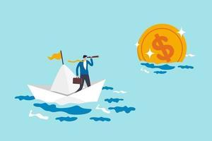 Finanzplanungsziel, Vision und Strategie für finanzielle Freiheit oder Altersvorsorgezielkonzept, Geschäftsmann-Gehaltsmann-Investor, der das Boot unter Verwendung des Teleskops reitet, um weit goldene Geldmünze zu sehen. vektor