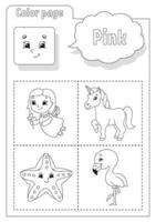 målarbok rosa. lärande färger. flashkort för barn. seriefigurer. bilduppsättning för förskolebarn. utbildning kalkylblad. vektor illustration.