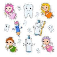 uppsättning klistermärken med söta seriefigurer. tandvård clipart. ritad för hand. färgglada pack. vektor illustration. kollektion för lappmärken. etikett designelement. för daglig planerare, arrangör, dagbok.