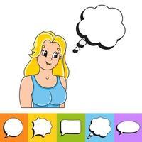 Satz von Sprechblasen in verschiedenen Formen. mit einer niedlichen Zeichentrickfigur. handgemalt. Luftballons denken. Vektorillustration lokalisiert auf weißem Hintergrund. Comic-Doodle-Stil. vektor